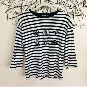Jewel BUGS striped t shirt. STRADIVARIUS Small
